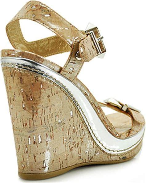 silver cork wedge sandals stuart weitzman twofer silver cork wedge sandal in beige