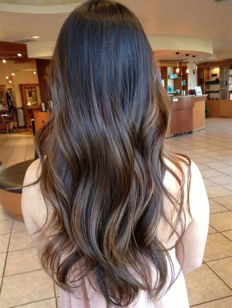balayage ombre highlights on dark hair balayage hairstyles for long dark hair