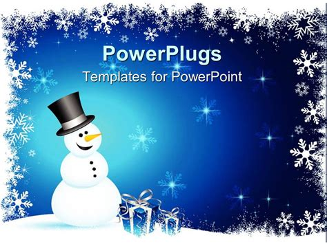 Powerpoint Template Winter Theme With Happy Smiling Snowman And Blue Gift Boxes With Silver Themed Powerpoint Template