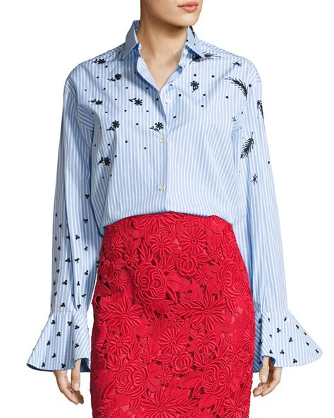 17205 Embroidered Poplin Blouse Blue White Size S M L valentino sleeve embroidered poplin blouse in blue lyst