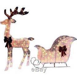 pre lit lighted reindeer sleigh santa buck christmas