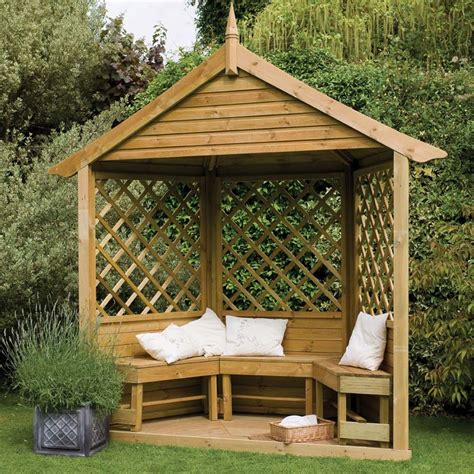 Majestic Corner Wooden Lattice Garden Arbour With Bench Seating from Westmount Living