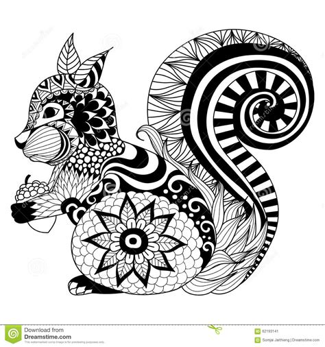hand drawn squirrel zentangle style for coloring book