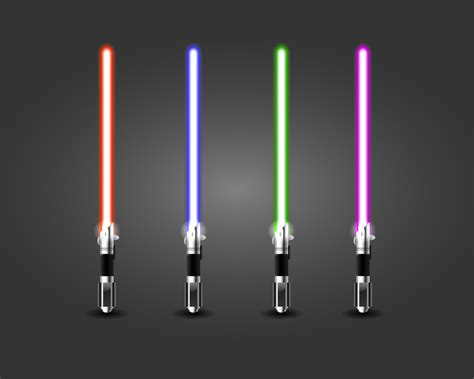 what is my lightsaber color glowing lightsabers 4 colors by djluigi on deviantart