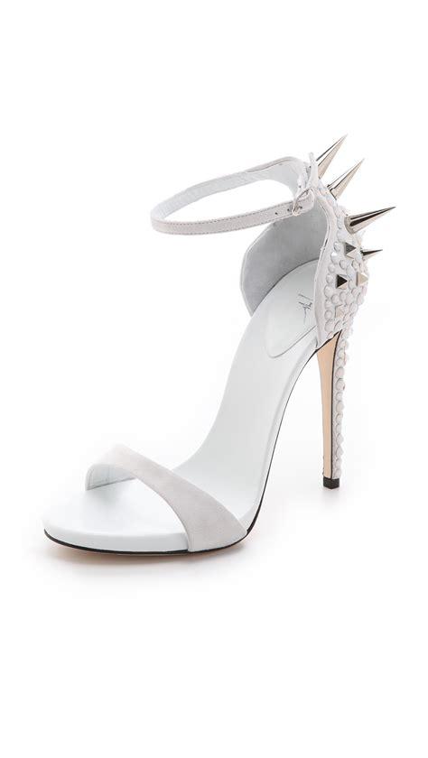 white giuseppe zanotti sandals giuseppe zanotti spike sandals in white lyst