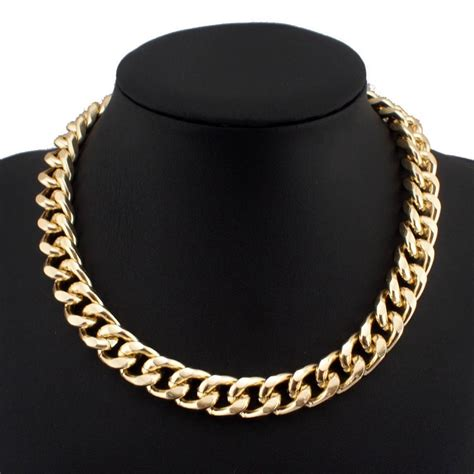 gold for jewelry gold plated metal statement chunky chain necklace