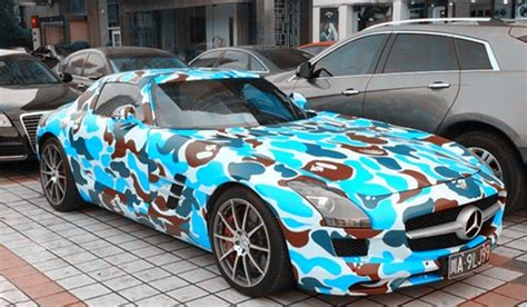 Blue Camo Lamborghini Camo Mercedes Sls Amg By Bape Gtspirit