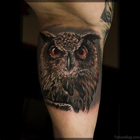 realistic owl tattoo 73 owl tattoos on leg