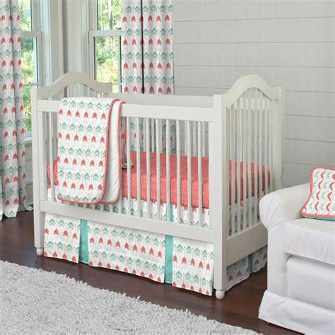 coral baby bedding coral and teal arrow crib comforter carousel designs