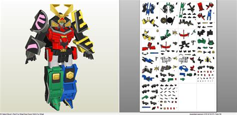 Megazord Papercraft - power rangers samurai megazord pepakura eu