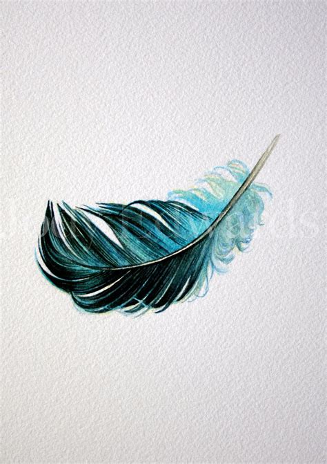 watercolor tattoo feather floating blue feather nightly study 428 original