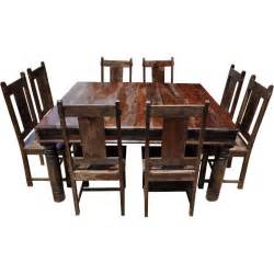 Hardwood Dining Room Furniture Rustic Square Solid Wood Furniture Large Dining Room Table Chair Set