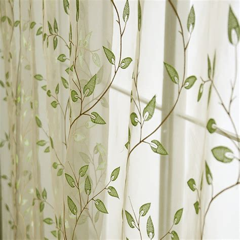 White Curtains With Green Leaves Embroidered Window Curtain Voile Custom Made Tulles Sheer Curtains Green Leaves For Living Room