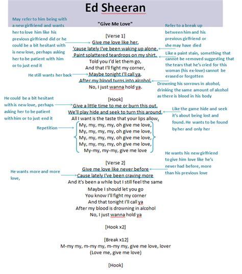 ed sheeran give me love lyrics music video planning lyrics annotation cady carolissen