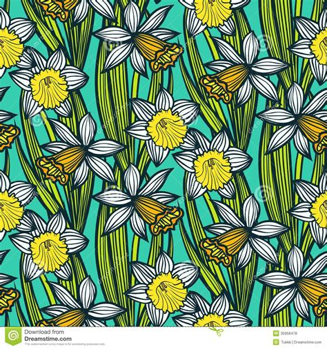vintage pattern with daffodils or narcissus royalty free