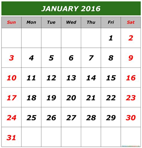 printable planner for january 2016 january calendar 2016 printable free printable 2017