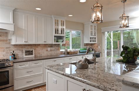 white shaker cabinets with granite white painted shaker kitchen cabinets granite island