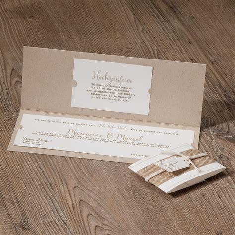 Hochzeitseinladung Jute by Hochzeitseinladung Quot Quot Kraftpapier Und