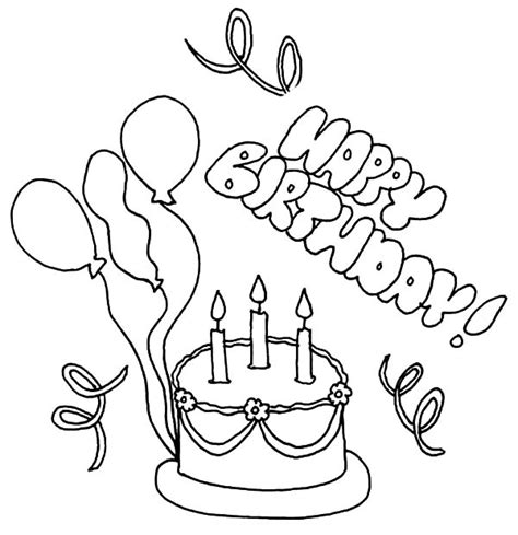 coloring pictures of birthday cakes and balloons delicious birthday cake with balloons coloring pages