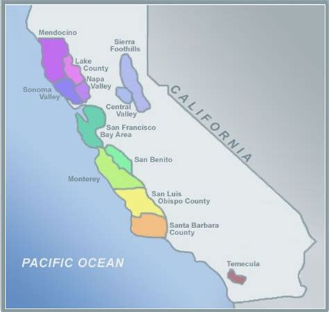 vineyards in california map california wine country map helpful information for the
