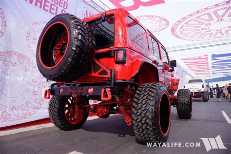 sema american force wheels allout offroad red jeep