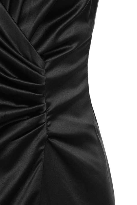 Fairuz Maxy by Clothing Max Dresses Fairuz Black Draped Satin Maxi Gown