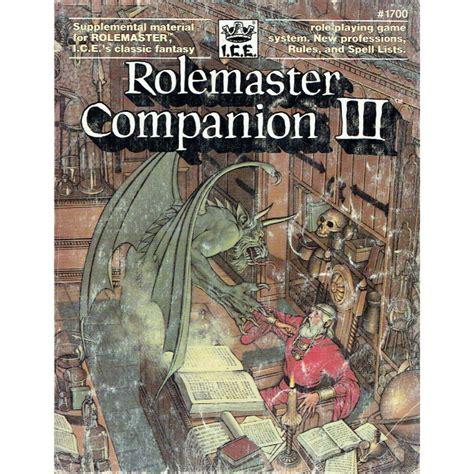 Rolemaster Companion 3 suppl 233 ment rolemaster companion 3 pour le jeu de r 244 le
