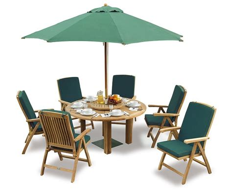 Patio Table 6 Chairs Titan Teak 6 Seater Patio Table And Reclining Chairs Set