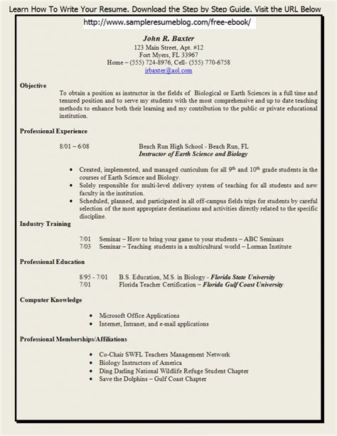 resume sle for teaching resume template word templates creative free