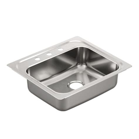 moen stainless steel kitchen sinks moen 2000 series drop in stainless steel 25 in 3