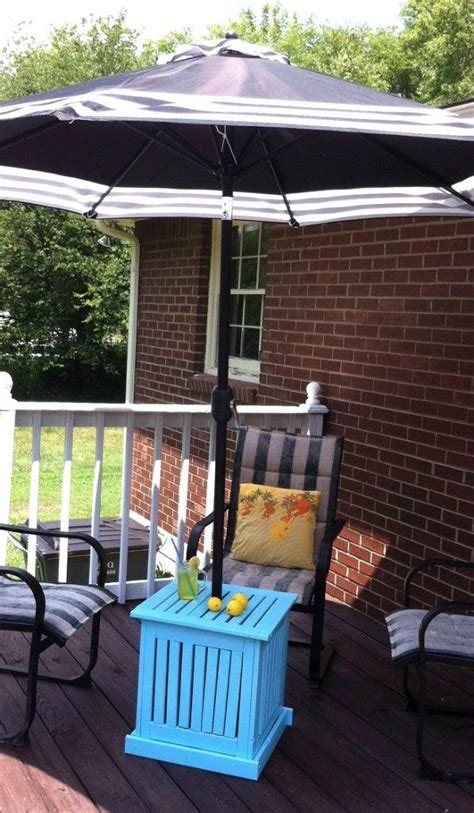Diy Patio Umbrella Stand Side Table We Create Patio Side Table With Umbrella