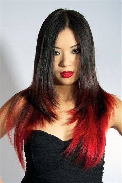 highlight on bottom half of hair black hair with red highlights on the bottom pictures