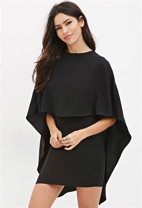 Dress Forever21 Black lyst forever 21 layered cape dress you ve been added to