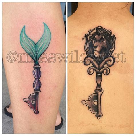 matching disney tattoos custom mermaid and scar key tattoos today