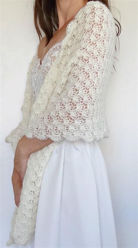 vintage ivory crochet bridal wrap wedding shawl winter