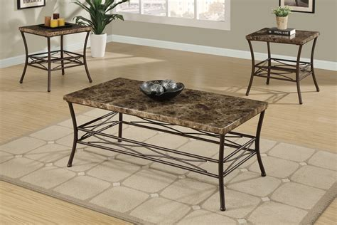 3pc maylin marble top coffee end table set