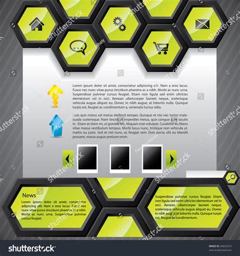 Cool Hexagon Website Template Stock Vector 64032415 Shutterstock Hexagon Website Template