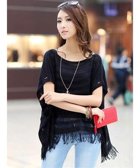Fashion Korea Original Terbaru 9112 black korean fashion hollow summer new knitting all matching blouse t6005b on luulla