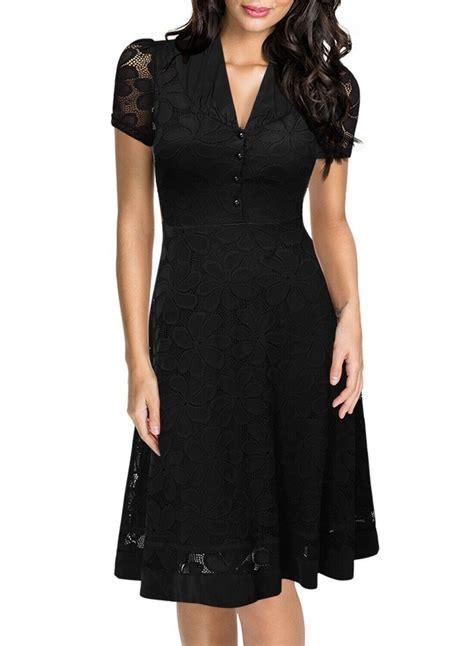 Styles That Stick Black Dress by Sleeve V Neck Summer Crochet Lace Clubwear