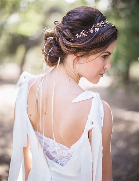 hairstyle for medium hair with one hair band secret forest elopement inspiration green wedding shoes