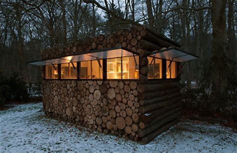 backyard office in logs