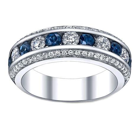 wedding band  row diamonds blue sapphire wedding