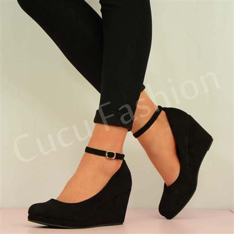 womens high heel wedges new womens high wedge heel ankle wedges