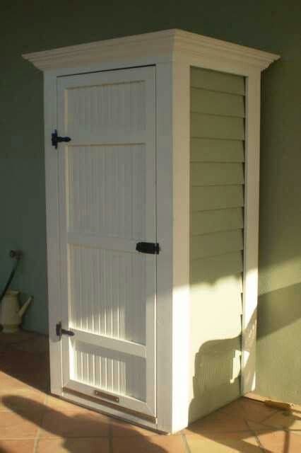 Storage to hide the water heater outside   Home exterior