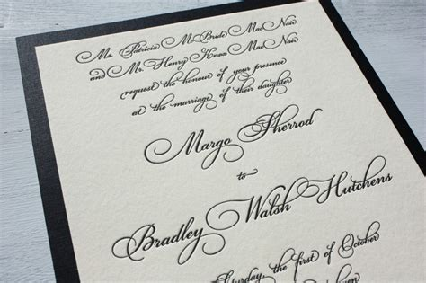 invitation script fancy black script scroll wedding invitations with black linen backing emdotzee designs