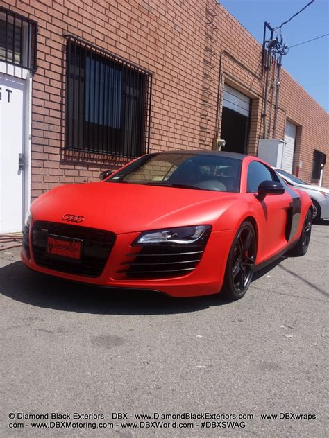 audi r8 wrapped audi r8 wrapped in matte red by dbx