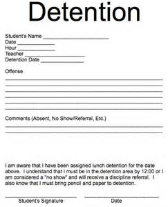 Detention Slips Template by Detention Individual Assignment Pages Template
