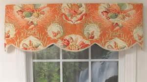 Coral Valance Curtains Seaworthy Seashell Pattern Cornice Valance