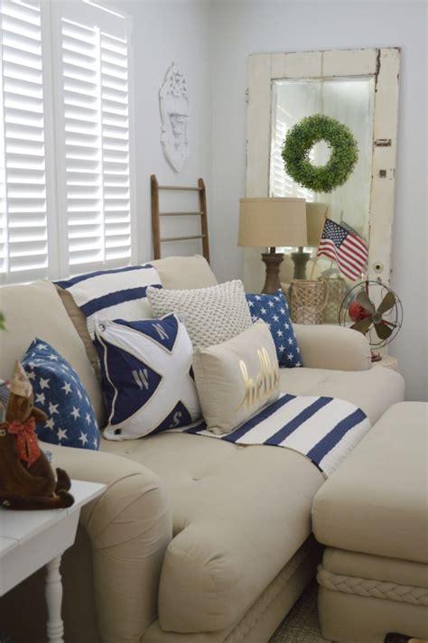 casual home decor patriotic coastal cottage living room