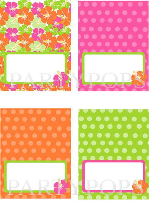 free printable luau party decorations diy luau party food label or name place card tabel tent